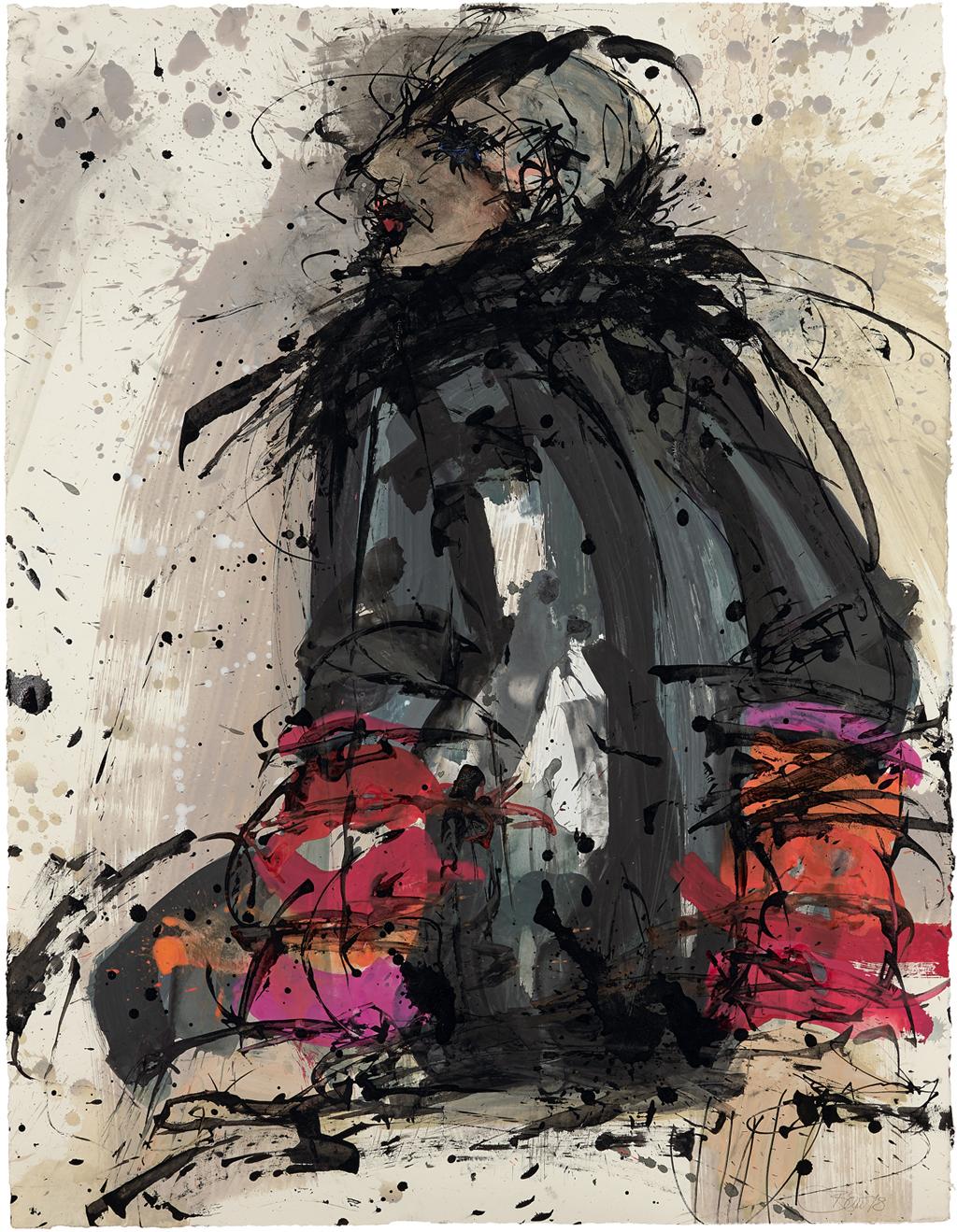 Transfer und Transformation - Nancy Cunard 2018, Acryl und Schellack-Tusche auf Papier, 88 x 68 cm