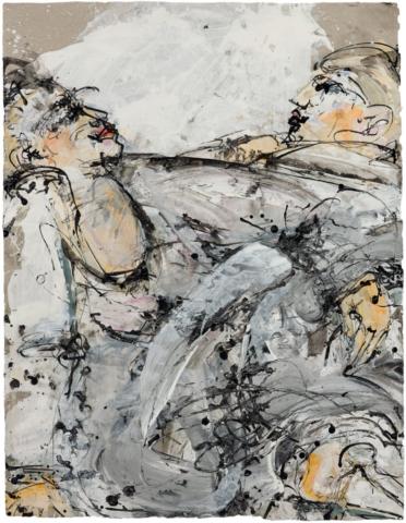 Gemeinsam 2018, Acryl und Schellack-Tusche auf Papier, 88 x 68 cm