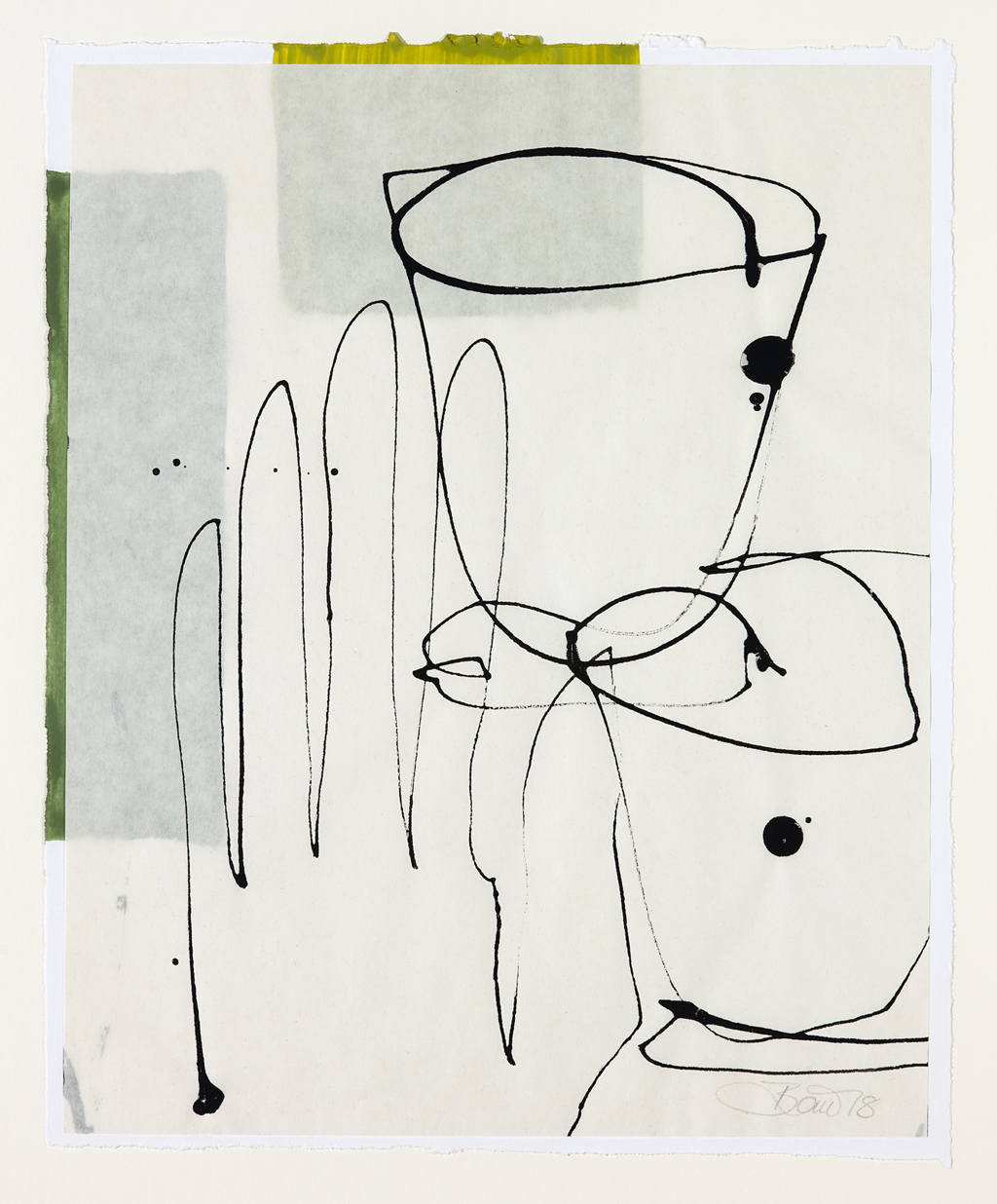 Raumanzüge für innere Werte 2018, Zeichnung collagiert, 26 x 21 cm, gerahmt 50 x 40 cm