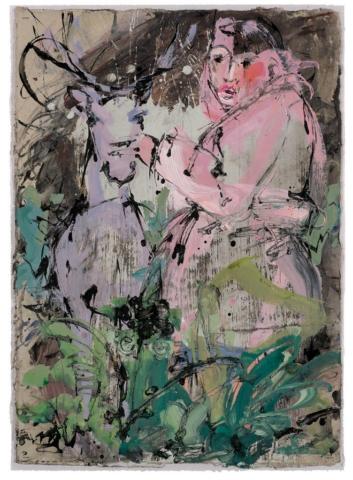 Unverhoffte Begegnung| 2018, Acryl und Schellack-Tusche auf Pappe, 74 x 53 cm
