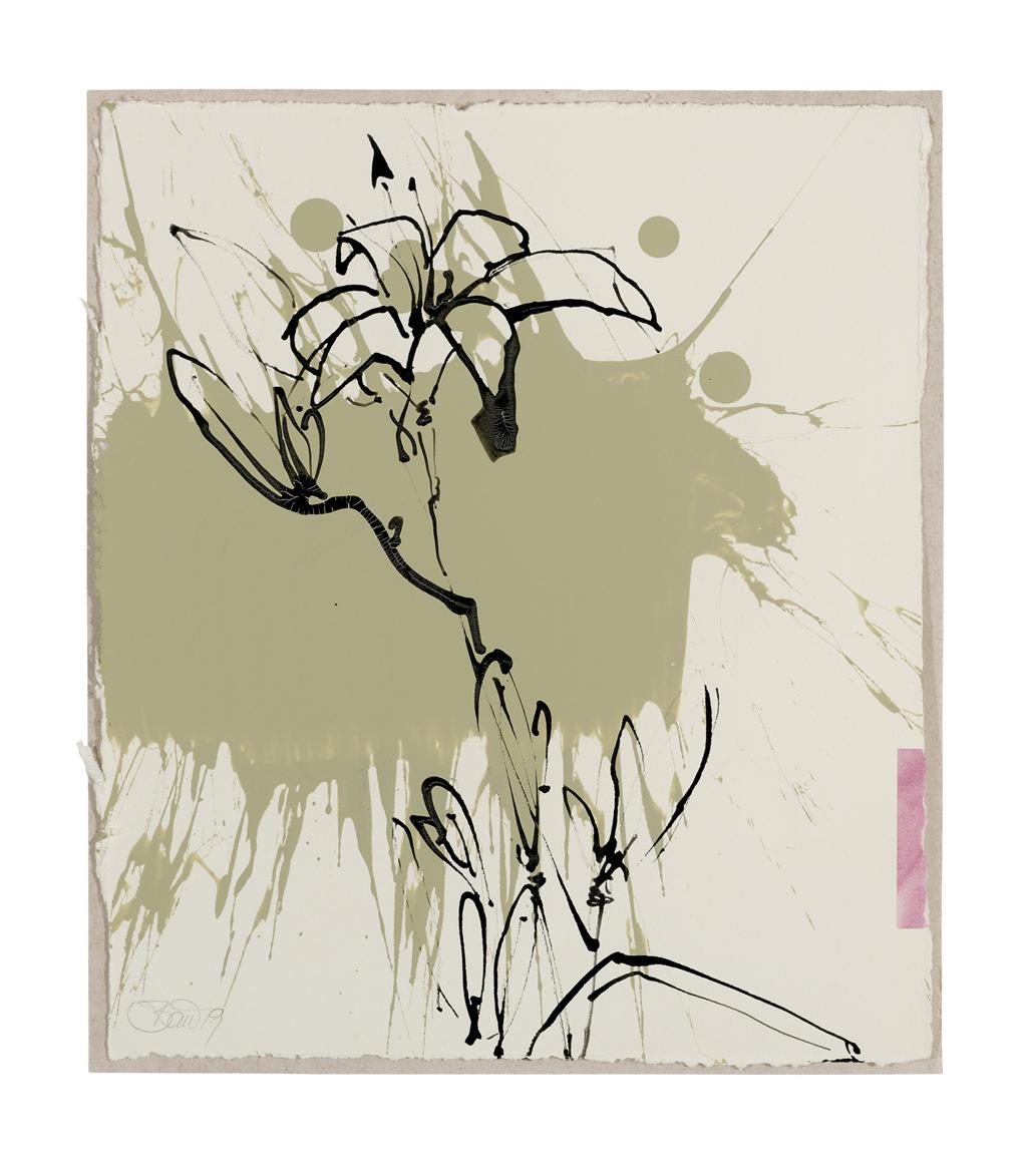 Im Lilienfeld | 2019, Schellack, Collage und Acryl auf Papier, 24 x 21 cm