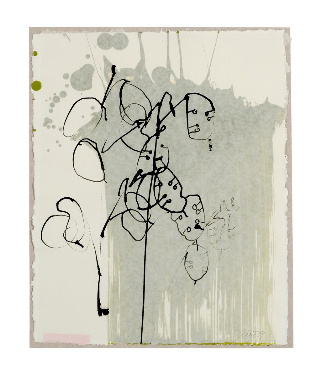 Mondviole – Silberblatt | 2019, zweischichtige Papierarbeit, Schellack auf Pergamin über Acryl auf Papier, 25 x 21,5 cm