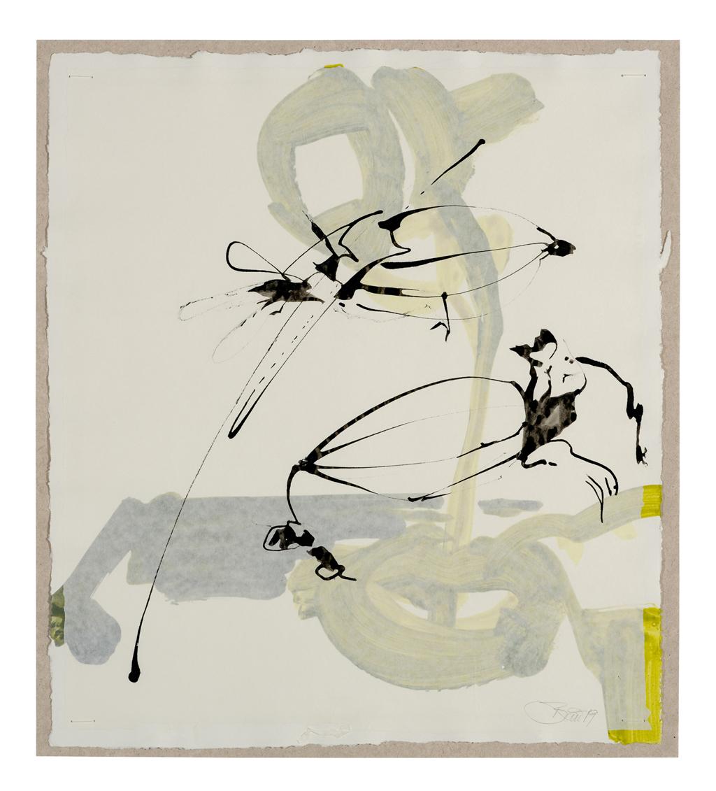 Speicherknolle – Kapselfrucht | 2019, zweischichtige Papierarbeit, Schellack auf Pergamin über Acryl auf Papier, 32 x 28 cm