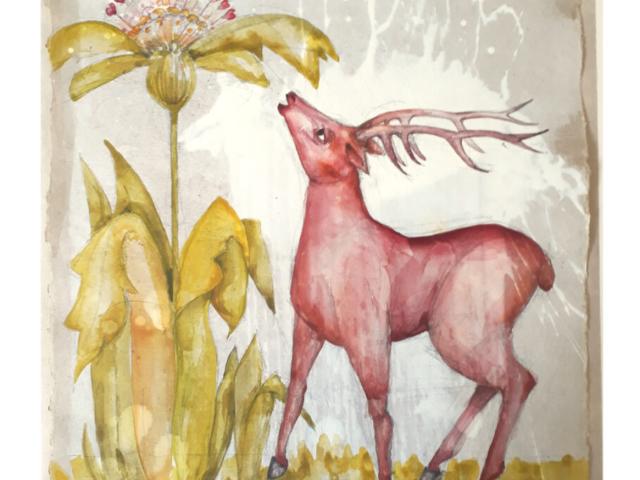 Eine besondere Zeit an einem besonderen Ort – Hommage an Georgette Klein | 2019, Gesso, Bleistift und Acryl auf Papier, 31 x 28 cm