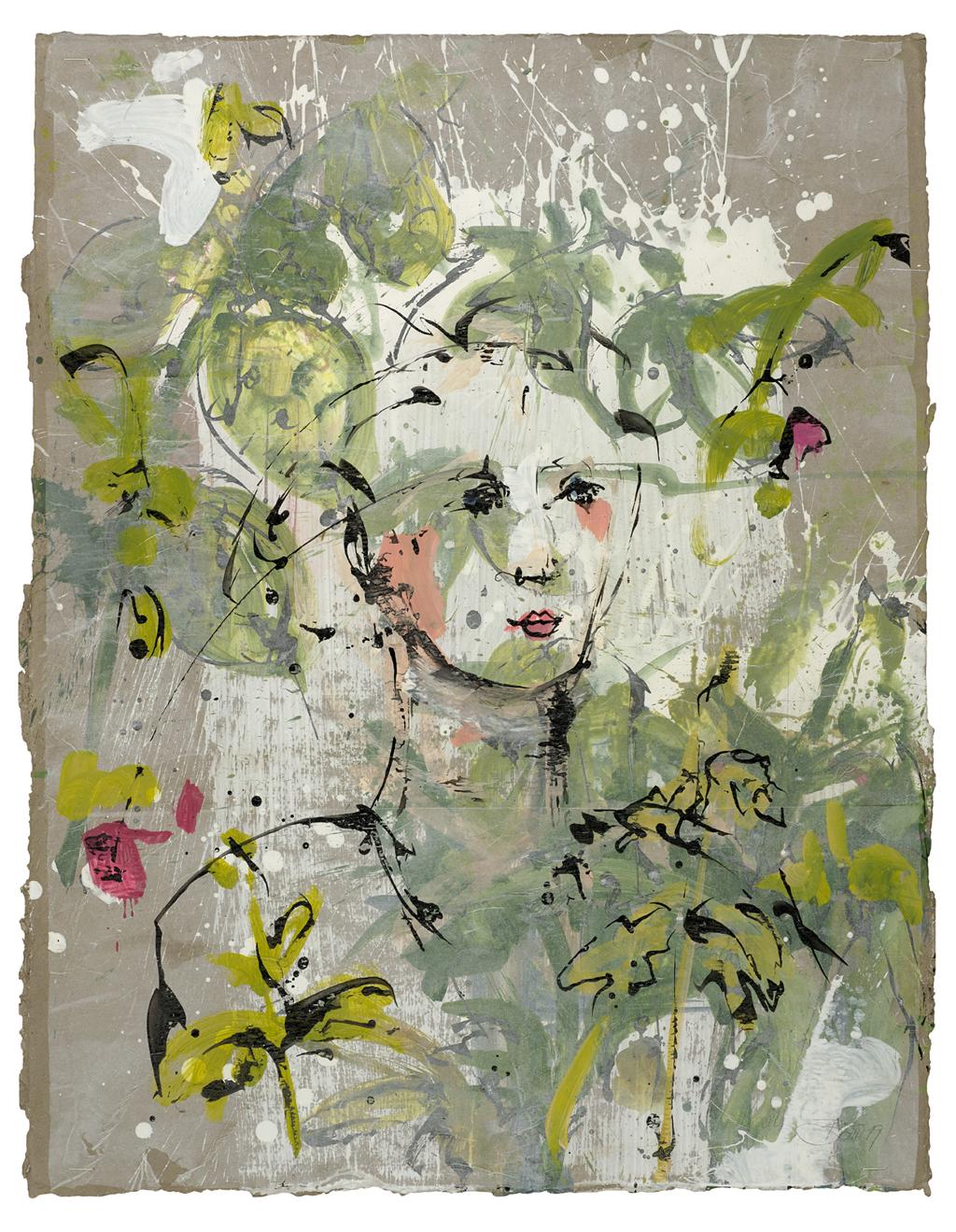 Im Sommergarten | 2019, zweischichtige Papierarbeit, Schellack und Acryl auf Pergamin über Acryl auf Pappe, 88 x 68 cm