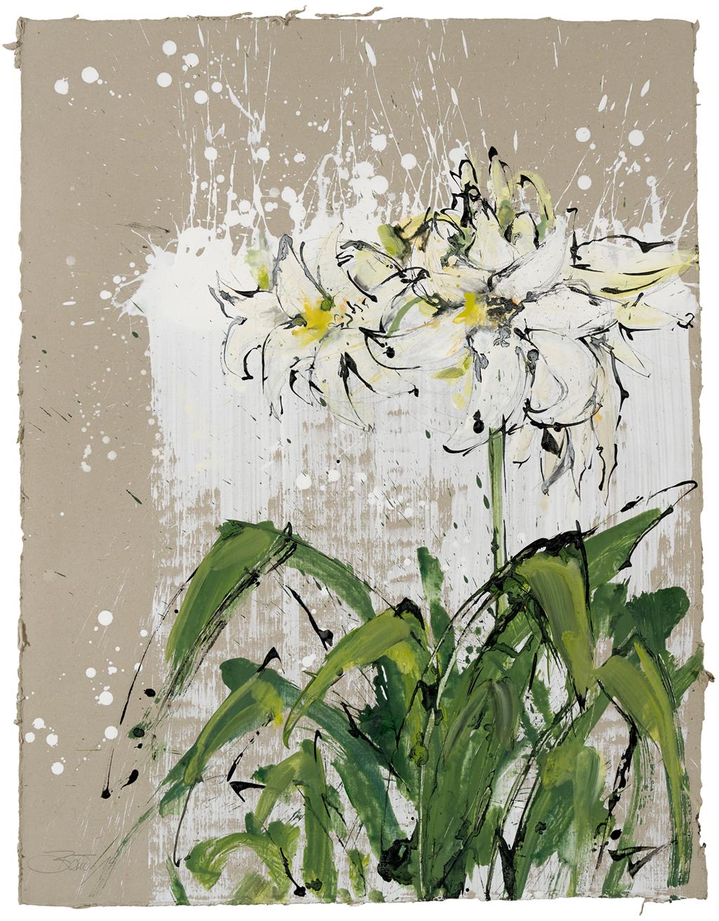 Im Garten von Georgette – Lilien | 2019, Gesso, Schellack und Acryl auf Pappe, 88 x 68 cm