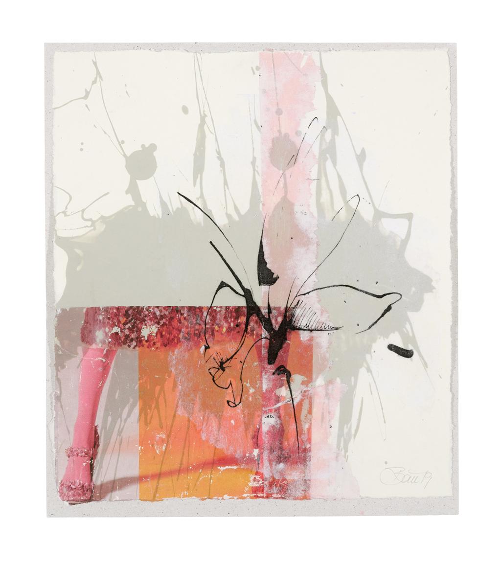 Auf der Suche nach der verlorenen Zeit | 2019, Acryl, Schellack und Transferdruck auf Papier, 24 x 21 cm