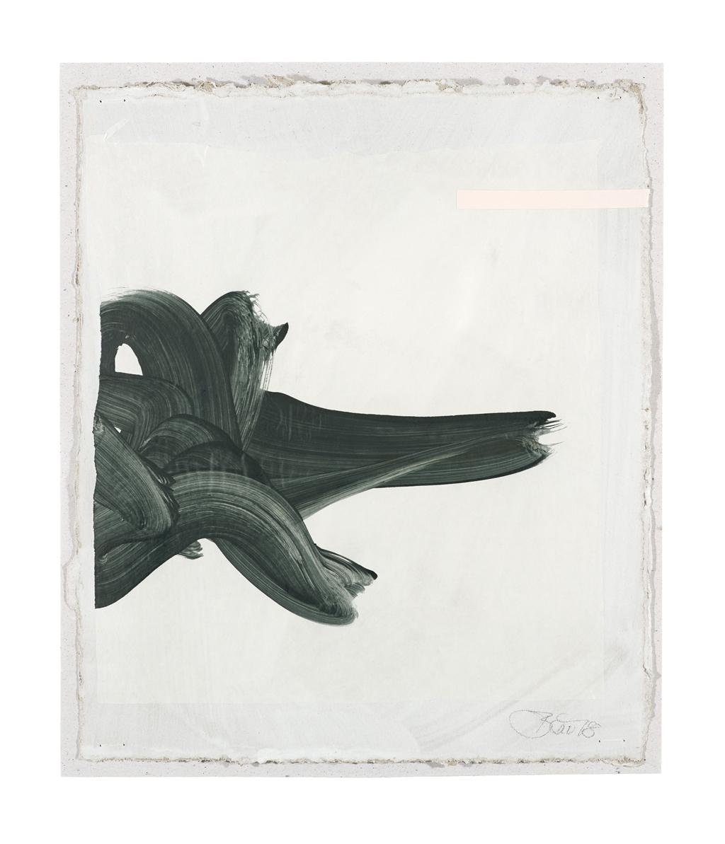Große Form II| 2018, zweischichtige Papierarbeit, Acryl auf Pergamin und Collage über Gesso auf Pappe, 29 x 23 cm