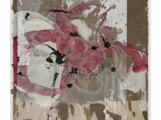 Ineinander hineinatmend| 2018, Schellack und Wachs auf Japanpapier über Gesso und Acryl auf Pappe, 32,5 x 28,5 cm