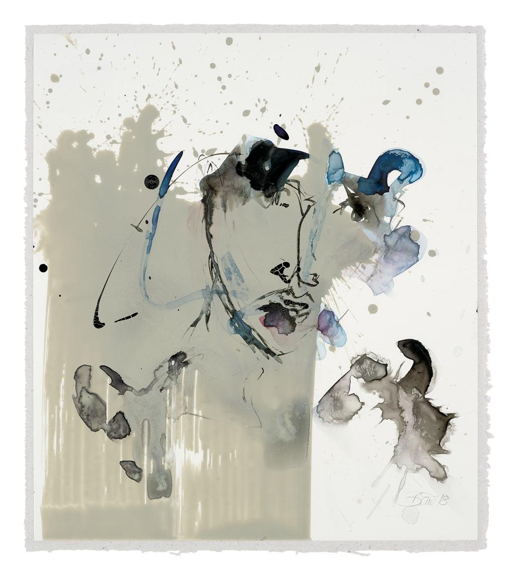 Dieser Augenblick kommt nie zurück| 2018, Acryl und Schellack auf Steinpapier, 32,5 x 28,5 cm