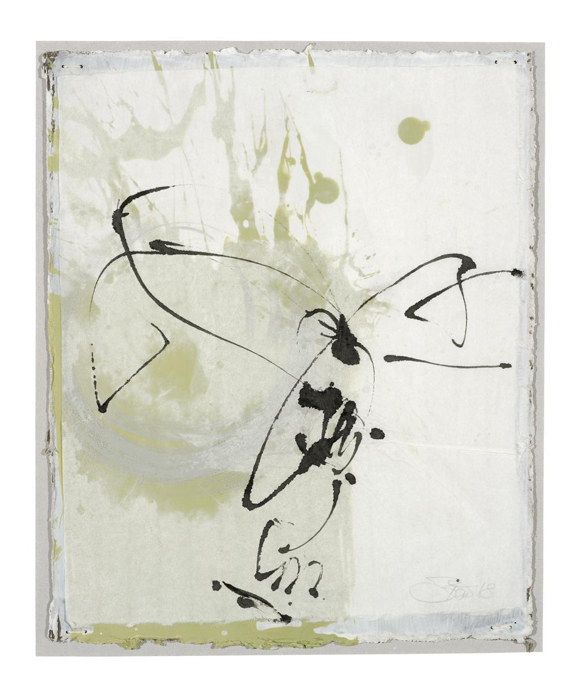 Die Dinge singen hör ich so gern II | 2018, zweischichtige Papierarbeit, Schelllacktusche auf Japanpapier über Acryl und Gesso auf Pappe, 29 x 23 cm