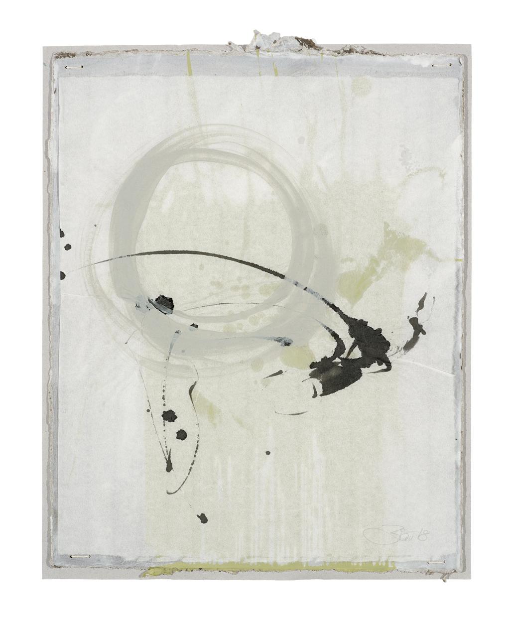 Die Dinge singen hör ich so gern III | 2018, zweischichtige Papierarbeit, Schelllacktusche auf Japanpapier über Acryl und Gesso auf Pappe, 29 x 23 cm