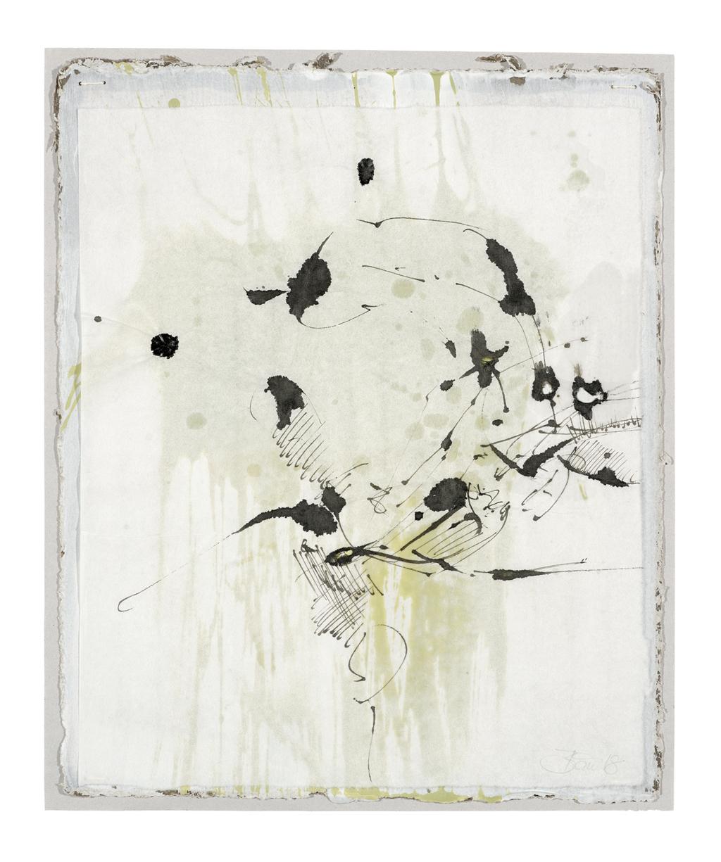 Die Dinge singen hör ich so gern IV | 2018, zweischichtige Papierarbeit, Schelllacktusche auf Japanpapier über Acryl und Gesso auf Pappe, 29 x 23 cm