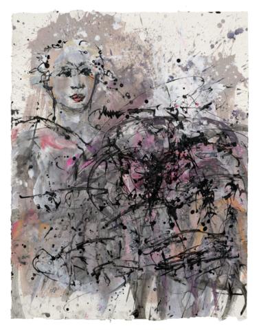 Aschenrose bei Silbernacht | 2018, Acryl und Schellack-Tusche auf Papier, 88 x 68 cm